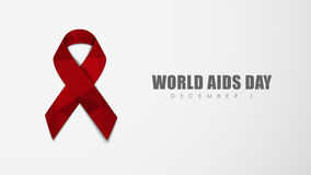 Background with red ribbon for World AIDS Day. White background with a red ribbon to polygonal AIDS Day. Vector illustration Stock Images