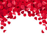 Background with red rose petals. Vector illustration. Royalty Free Stock Images