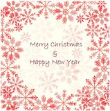 Background with red snowflakes on white, Merry Christmas and Happy New Year stock vector illustration Stock Photos