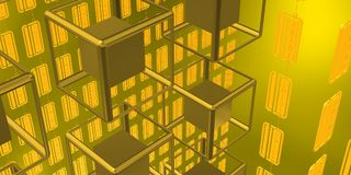 Futurist scene with tech cubes over golden background Stock Photo