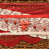 Background with red stars and ribbons. Romantic background with red stars and ribbons Royalty Free Stock Image