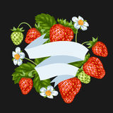 Background with red strawberries. Illustration of berries and leaves.  Stock Photo