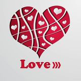 Background with red strip heart Royalty Free Stock Images