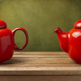 Background with red tea pot Royalty Free Stock Photos