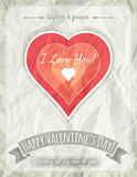 Background with  red valentine heart and wishes te Royalty Free Stock Image
