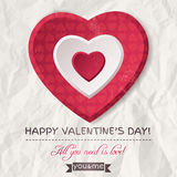 Background with  red valentine heart and wishes text Royalty Free Stock Photography