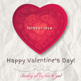 Background with  red valentine heart and wishes text. Vector Royalty Free Stock Images