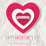 Background with  red valentine heart and wishes text. Vector Royalty Free Stock Photo