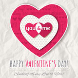 Background with  red valentine heart and wishes text Royalty Free Stock Images
