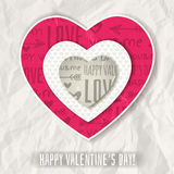 Background with  red valentine heart and wishes text Royalty Free Stock Image