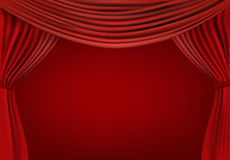 Background with red velvet curtain. Royalty Free Stock Photography