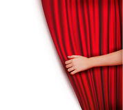 Background with red velvet curtain. Vector illustration Royalty Free Stock Photography