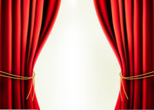 Background with red velvet curtain. Vector illustration Stock Photos
