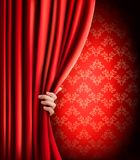 Background with red velvet curtain and hand. Vector illustration Royalty Free Stock Image