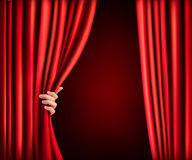 Background with red velvet curtain and hand. Vector illustration Stock Photography