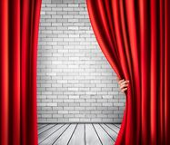 Background with red velvet curtain and hand. Vector Royalty Free Stock Images