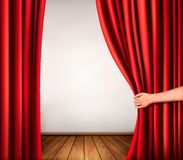 Background with red velvet curtain and hand. Vector illustration Stock Image