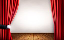 Background with red velvet curtain and hand. Vector illustration Royalty Free Stock Photos
