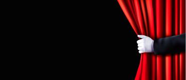 Background with red velvet curtain and hand. Vector illustration Stock Photo
