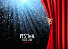 Background with red velvet curtain and hand. Vector illustration Stock Images