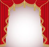 Background with red velvet curtain with tassels Royalty Free Stock Photography