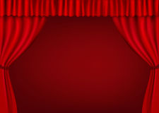 Background with red velvet curtain. Vector. Stock Photos
