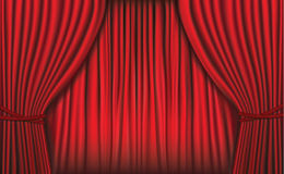 Background with red velvet curtain. Vector . Stock Photos