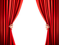 Background with red velvet curtain. Stock Photo