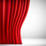 Background with red velvet curtain. Vector Stock Photos