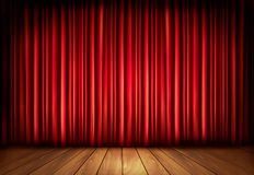 Background with red velvet curtain and a wooden fl Royalty Free Stock Photos