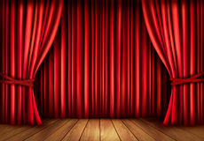 Background with red velvet curtain and a wooden fl Royalty Free Stock Photography