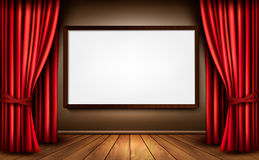 Background with red velvet curtain and a wooden fl Stock Image