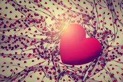 Background with red velvet heart Stock Photo