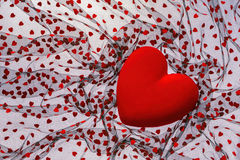 Background with red velvet heart Royalty Free Stock Image