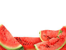 Background of red watermelons slices stock photos