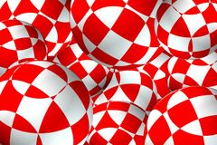 The Background from red-white ball. 3D illustration. Illustration with scene 3D background from ball red white ball with figured pattern Royalty Free Stock Image