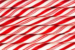 Background of red and white striped candy canes Stock Photo