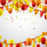 Background with flags and balloons. Background with red and yellow flags, balloons and confetti. Vector illustration Royalty Free Stock Image