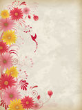 Background with red and yellow flowers Stock Images