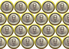 Background refreshment can closed. Background made with the top view of some closed refreshment cans in yellow royalty free stock image
