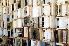 Background of refrigerators in a recycling plant. stockbilder