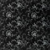 Background of a repeat botanic pattern. A black and white wallpaper of elaborate flowers and leaves Stock Photo