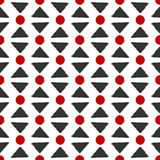 Background with repeating triangles and circles. Seamless pattern. Drawn rough brush. Vector illustration. Red, black, white. Grunge Royalty Free Illustration