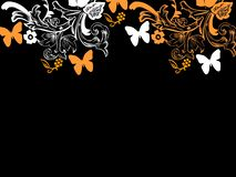 Background repetition flowers cards backgrounds orange butterflies. Background repetition cards backgrounds isolated repeat decoration pattern texture orange vector illustration