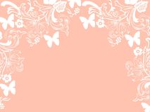 Background repetition flowers cards pink backgrounds white butterflies. Background repetition cards backgrounds isolated repeat decoration pattern texture orange vector illustration