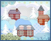 Background retro christmas patchwork nature winter picture illus Royalty Free Stock Images