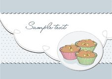 Background retro elegant with muffin;  Royalty Free Stock Photo