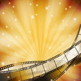 Background with retro filmstrip. And stars Stock Images