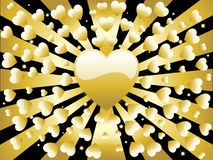 Background Retro Golden Heart Stock Photos