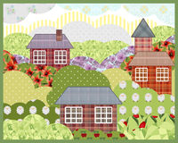 Background retro patchwork summer nature landscape picture Royalty Free Stock Image